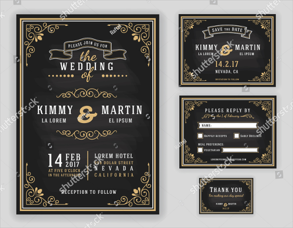 Luxurious Wedding Invitation On Chalkboard
