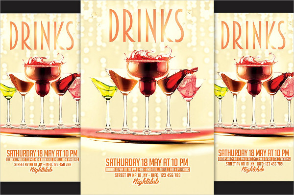 Modern Drinks Party Flyer Templates