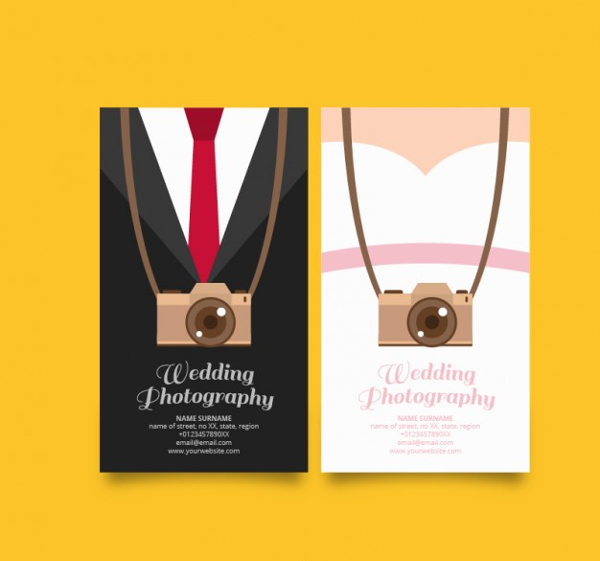 Original Cards For Wedding Photography Free Vector