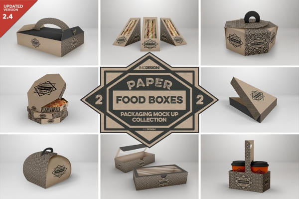 Paper Food Box Packaging Mockup Collection
