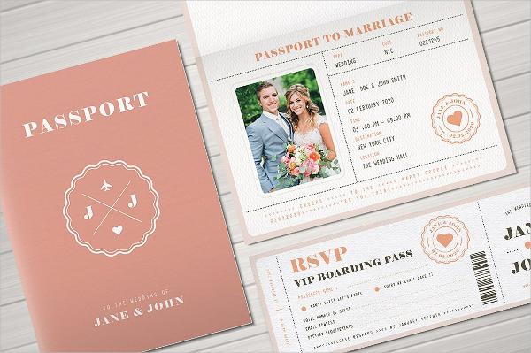 Pasport Wedding Invitation Card Template