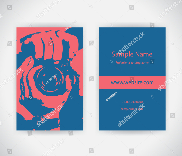 Red And Blue Business Card For Photographer