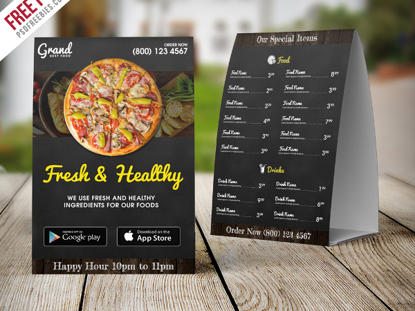 Free PSD Restaurant Food Menu Table Tent Template