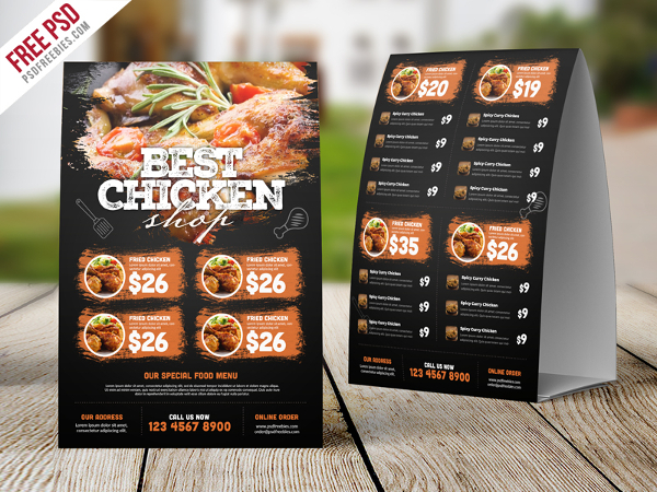 PSD Best Restaurant Food Menu Tent Card Free
