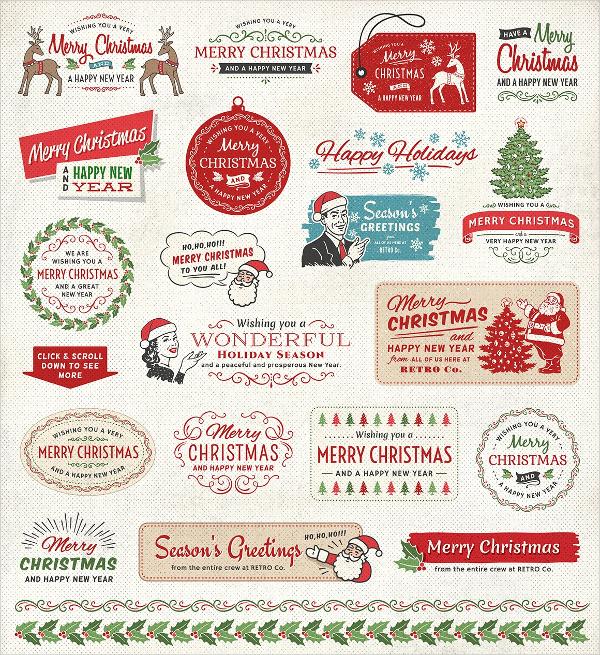 Retro Christmas Labels Bundle