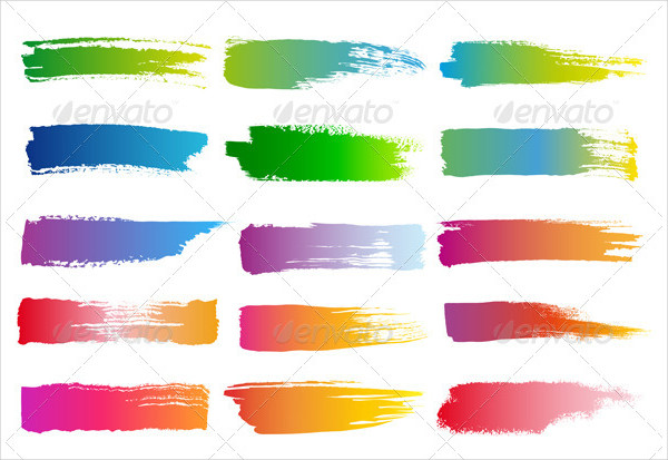 Watercolor Brush Strokes Vector Set