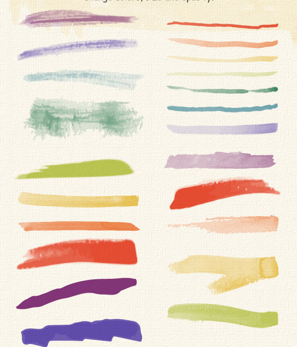 Set Of Watercolor Brushes And Textures
