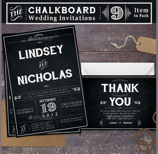 Simple Chalkboard Wedding Invitations
