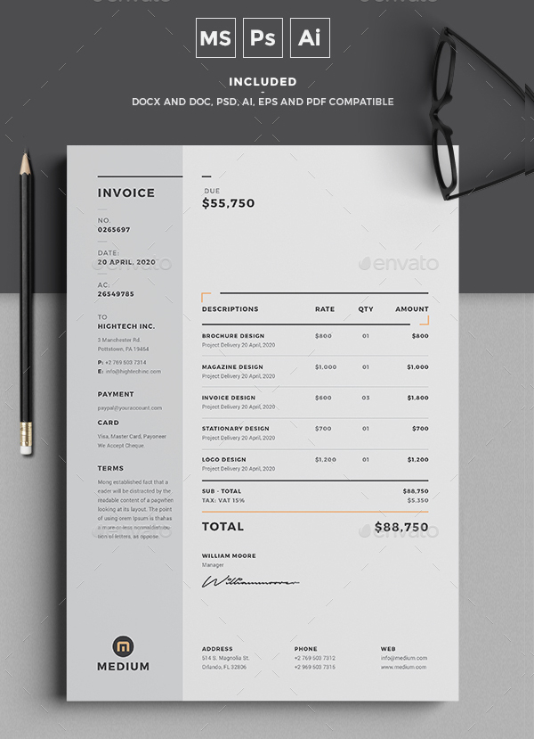 27 simple invoice templates free psd sample example downloads