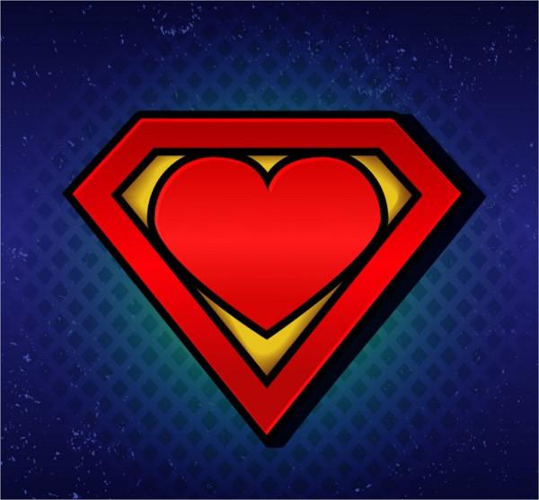 Super Hero Heart Logo Template