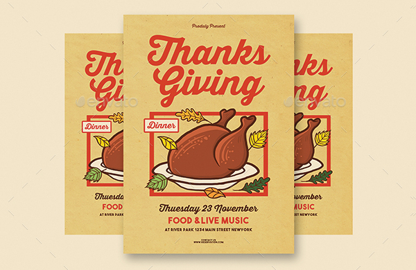 Thanks Giving Vintage Flyer Template