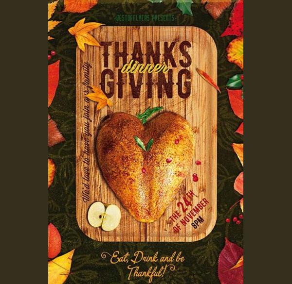 Thanksgiving Dinner Free PSD Flyer Template
