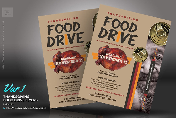 Thanks Giving Food Drive Flyers