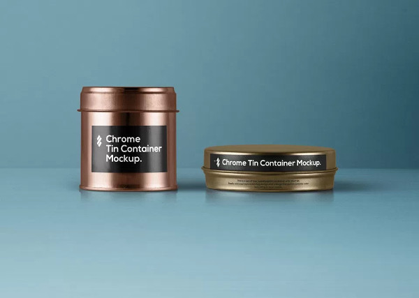 Tin Container Food Packaging Mockup PSD