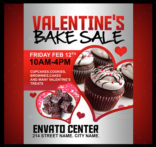 Valentines Bake Sale Flyers Template