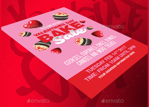 Valentines Day Bake Sale PSD Flyer