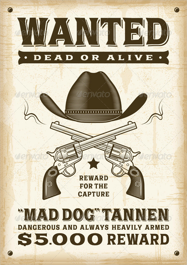 Vintage Western Wanted Poster Templates