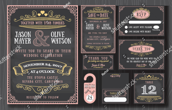 Vintage Wedding Invitation Chalkboard Design