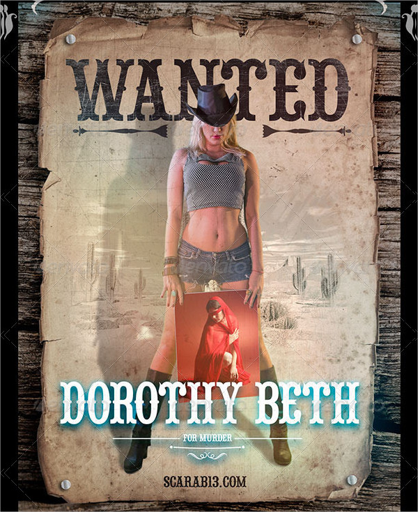 Wanted Poster With 5 Cowgirl Image Holders