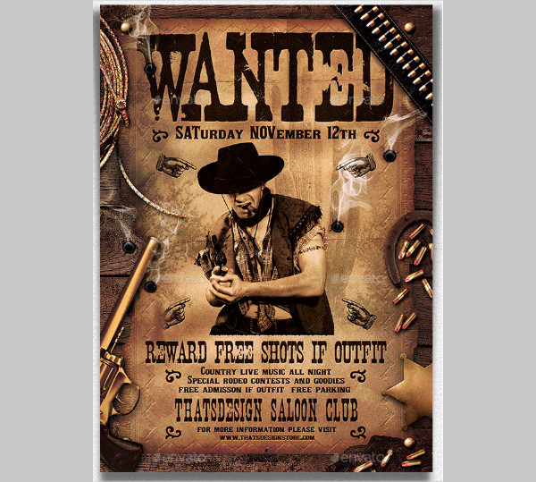 Wanted Western Party Poster Templates