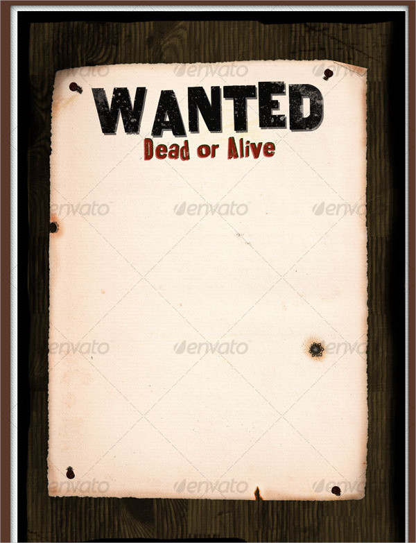 Wanted Western Poster On Wood Wall
