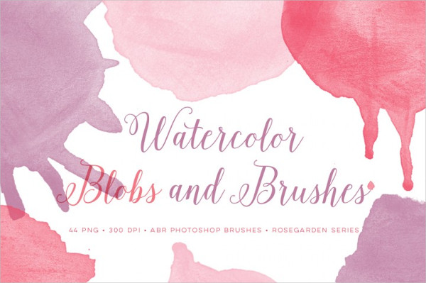 Watercolor Blobs And Brushes