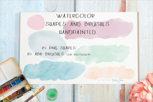 Watercolor Shapes Splotches Brushes