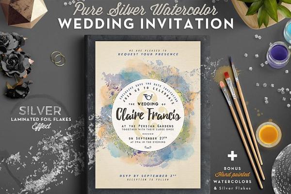 Watercolor Wedding Card Set