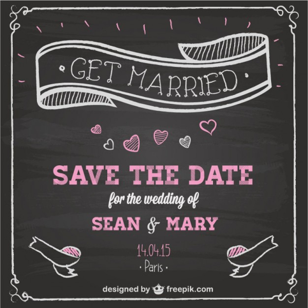 Wedding Invitation Chalkboard Design Free Vector