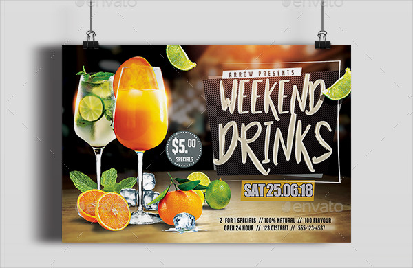 Weekend Drinks Party Flyer Template