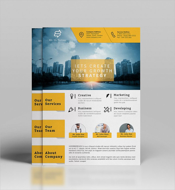 Yellow Corporate Flyer Templates