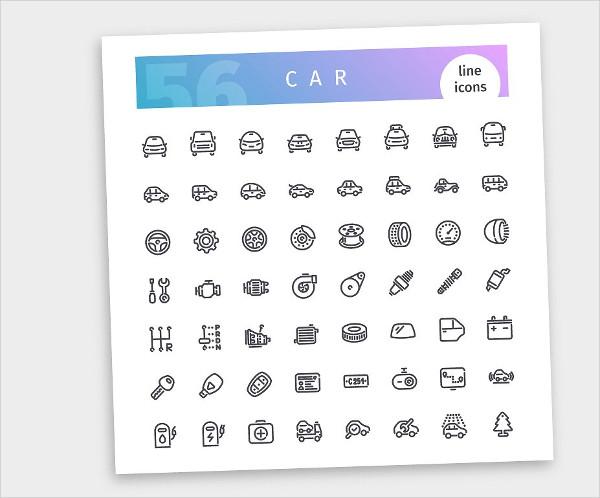 Car Line Icons Set