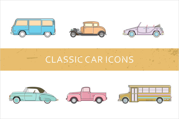 Classic Car Icons Set