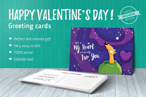 Dreaming Valentines Day Greeting Cards