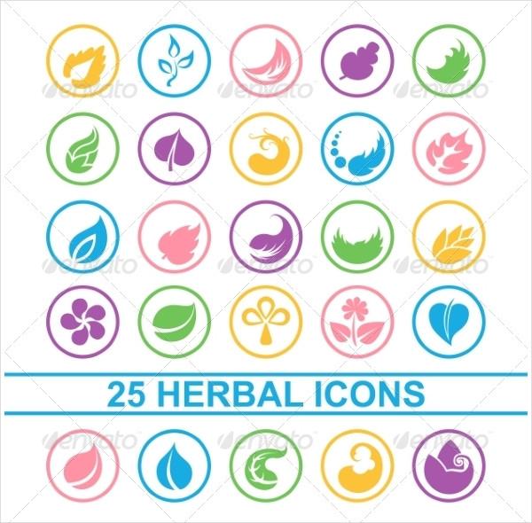 Floral Leaf Herbal Icons