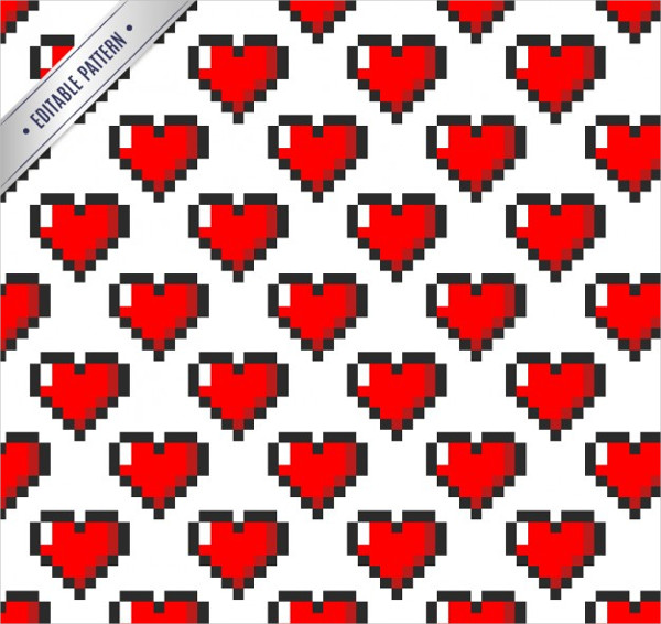 Free Download Pixeled Hearts Pattern