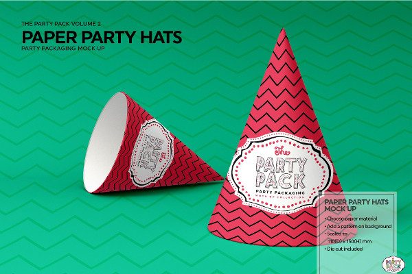 Paper Party Hat Mockup Templates