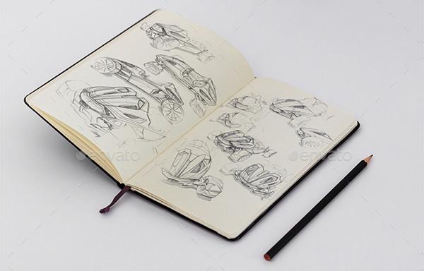 Photorealistic Sketch Book Mockups