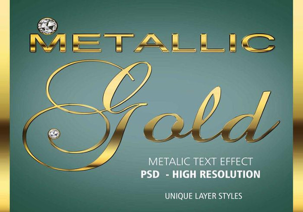 Realistic Gold Brush Text Effect PSD