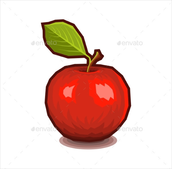Red Apple With Leaf Icon