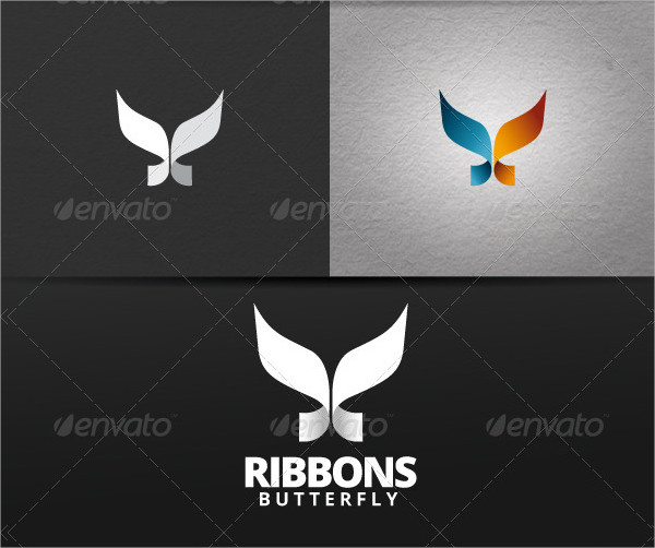 Ribbons Butterfly Logo Template
