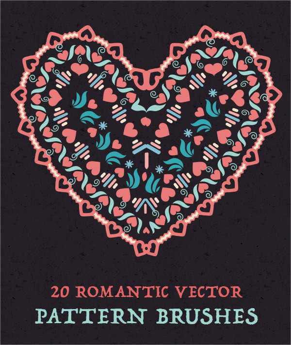 Romantic Vector Flower Pattern Brushes
