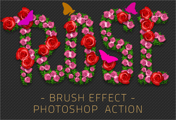 Rose Flowers Brush Effect Photoshop Action