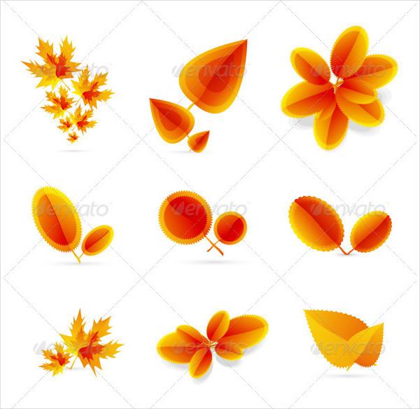 Seasonal Leaf Icons Set