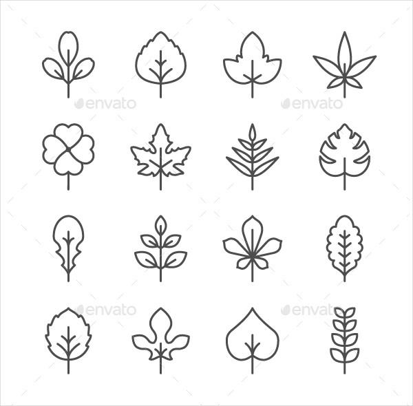 Set Line Icons Of Leaf
