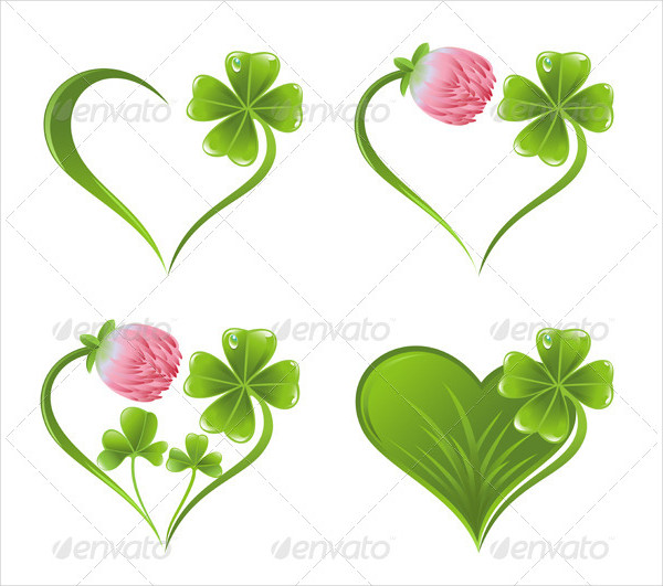 Set Of Heart Icons With Clover Leaf And Blossom