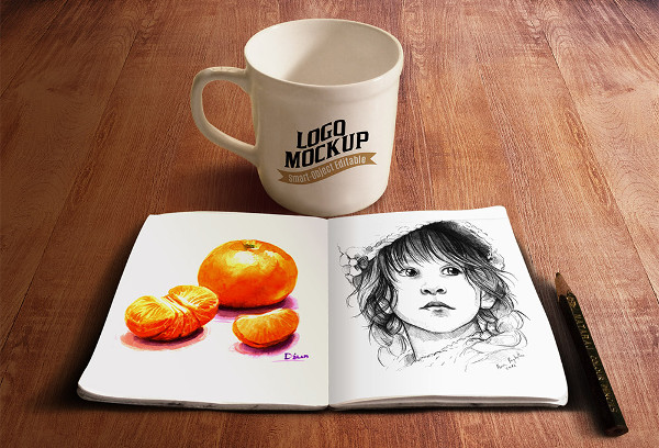 Free Sketch book and Coffee Cup Mockups