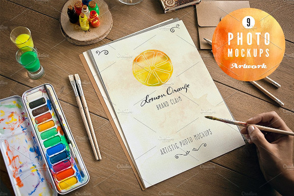 Sketched and Painted Artwork Mockups