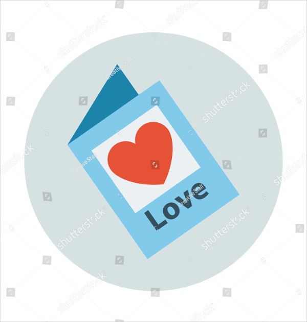 Valentines Day Greeting Card Colored Vector Illustration