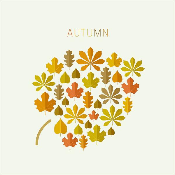 Simple Leaf Autumn Icon Set